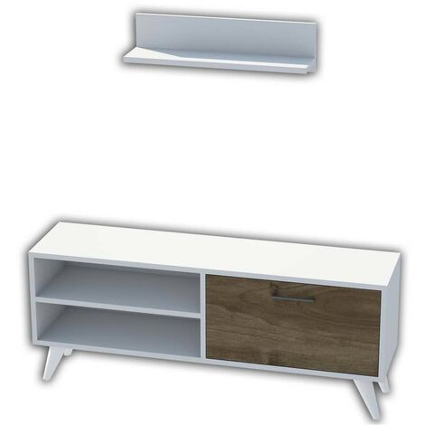 Homemania TV Stand Party 120x29.7x48.6 cm White and Walnut - Multicolour