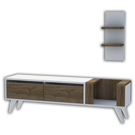 Homemania TV Stand Pers 130x30x38.6 cm White and Walnut - Multicolour