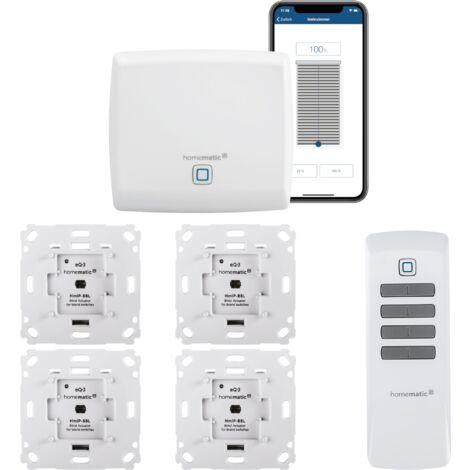 Homematic IP FUNK Jalousiesteuerung Set mit Fernbedienung und gratis Smartphone App zur Automatisierung der Jalousien. Beinhaltet: Zentrale, 4 Funk Jalousieaktoren, 1 Fernbedienung. Ideal zum Nachrüsten.