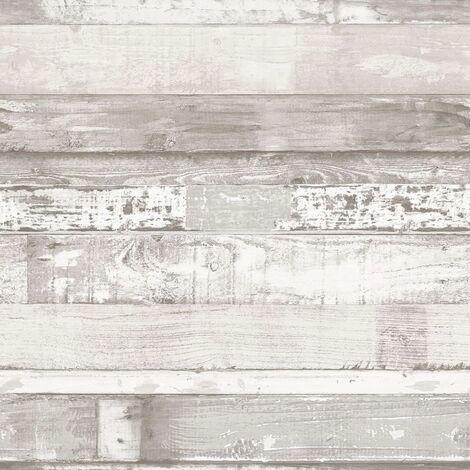 Homestyle Papier peint Wood Blanc cassé et gris