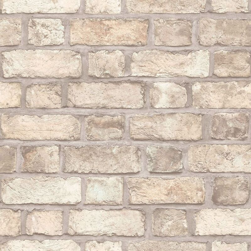 Image of Homestyle Wallpaper Brick Wall Beige and Grey - Multicolour
