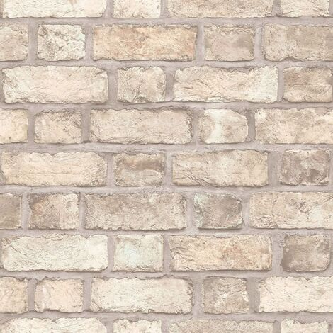 Homestyle Wallpaper Brick Wall Beige and Grey - Multicolour