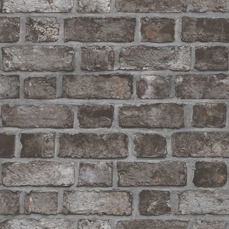 Image of Homestyle Wallpaper Brick Wall Black and Grey - Multicolour