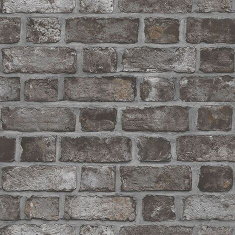 Homestyle Wallpaper Brick Wall Black and Grey - Multicolour