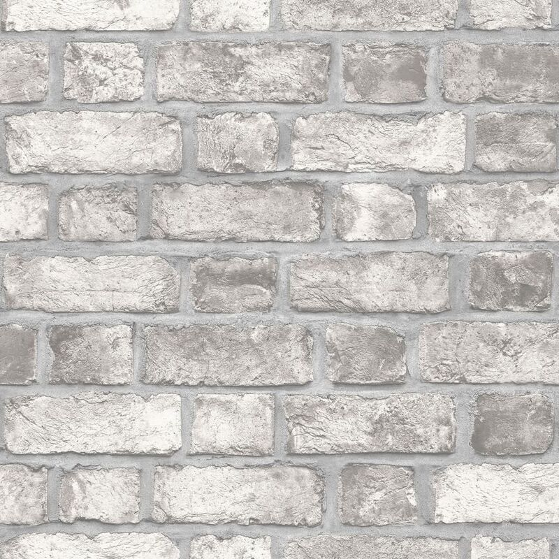 Image of Wallpaper Brick Wall Grey and Off-white - Multicolour - Homestyle