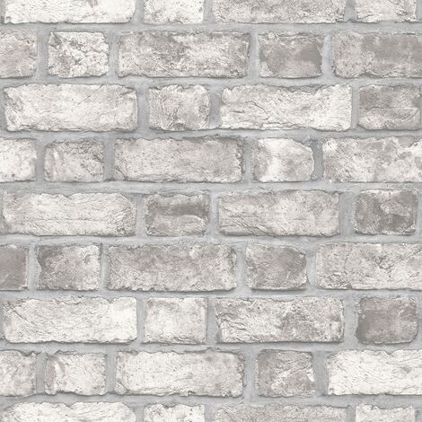 Homestyle Wallpaper Brick Wall Grey and Off-white - Multicolour