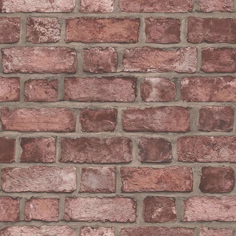 Image of Wallpaper Brick Wall Red - Red - Homestyle