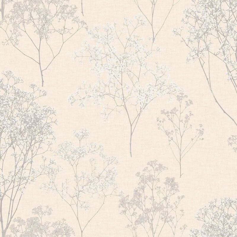 Image of Wallpaper Herbs and Flowers Beige and Grey - Multicolour - Homestyle