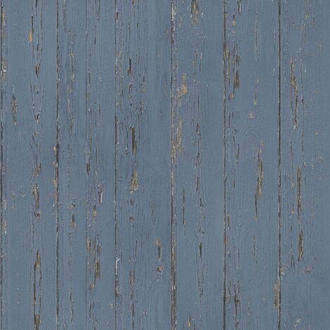 Homestyle Wallpaper Old Wood Blue - Blue