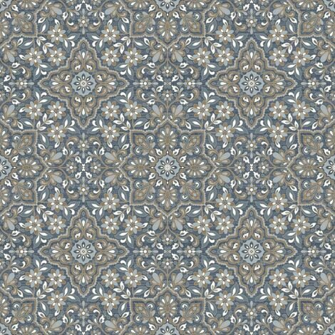 Homestyle Wallpaper Portugese Tiles Brown and Blue - Multicolour