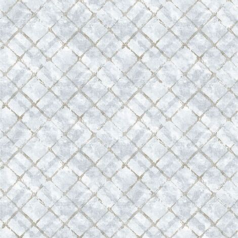 Homestyle Wallpaper Tiles Blue and Taupe - Multicolour