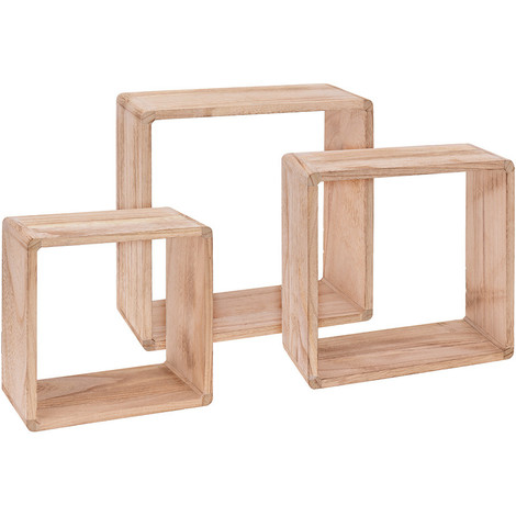 Home&Styling Estantes expositores 3 unidades madera de Paulownia