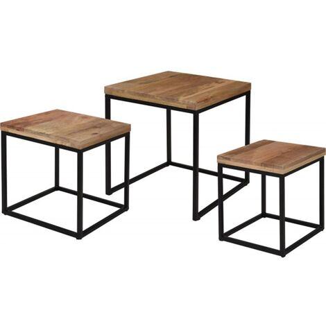 Home&Styling Juego de mesitas 3 piezas madera de mango - Marrón