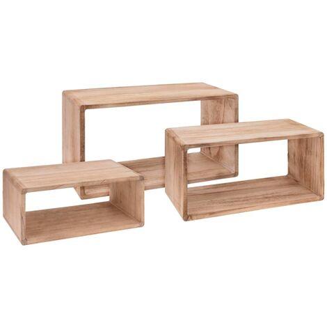 Home&Styling Set de estantes 3 piezas madera de Paulownia