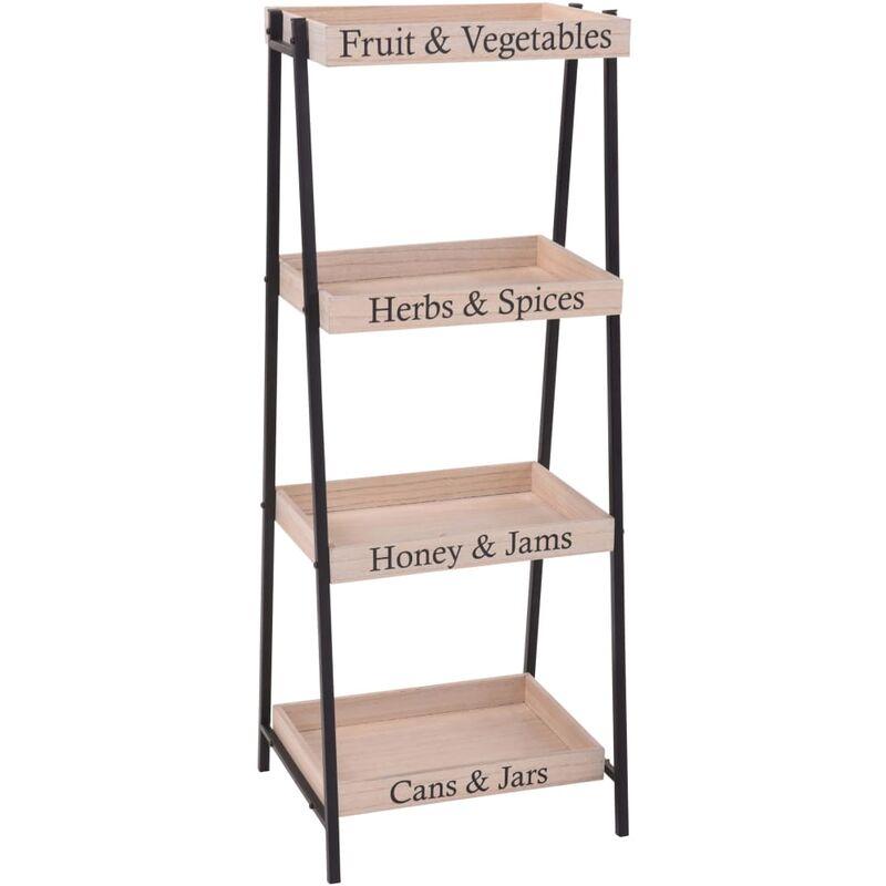 Image of Home&Styling Shelf Rack Steel and Wood 37.5x32x96 cm - Beige