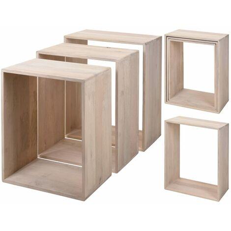 Home&Styling Side Table Set 3 pcs Mango Wood White Washed