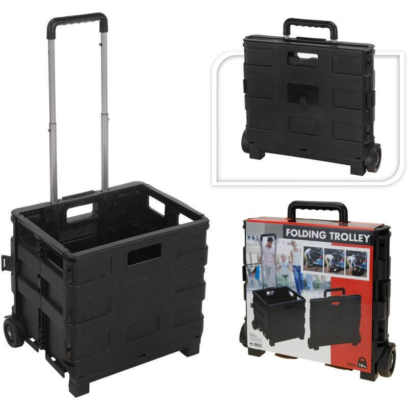 Image of Home&Styling Trolley Aluminium with Folding Crate PP - Black