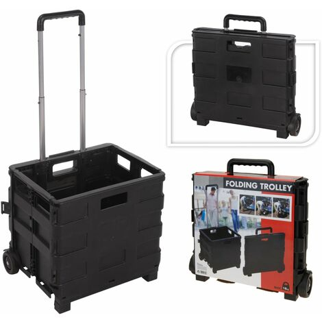 Home&Styling Trolley de transporte de aluminio con caja plegable de PP