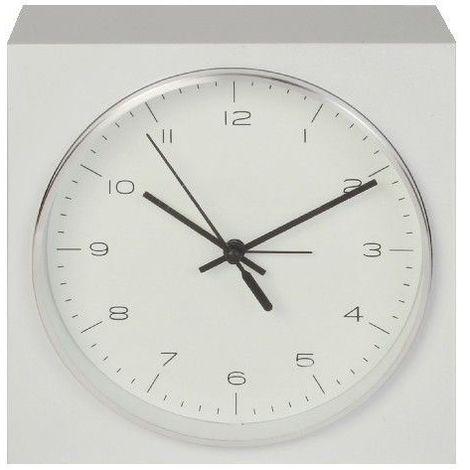 Hometime Square Alarm Clock w/ Round Silver Dial