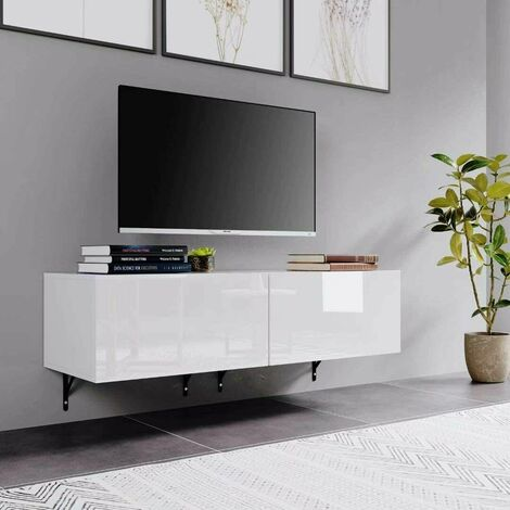 """main image of """"Homfa 120cm Wall Mounted Hung Floating White High Gloss TV Unit Media Cabinet w/ Door"""""""