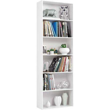 Homfa 180 cm bookshelf standing shelf office shelf wooden shelf room divider shelving system file shelf folder shelf CD DVD shelf kitchen shelf 6 compartments white