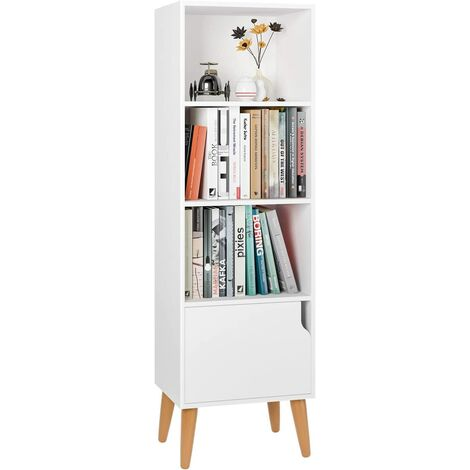 Homfa 4 Cubes Bookshelf Storage Unit Wooden Free Standing Cabinet Display Shelves Organize with Door Legs White for Home and Office