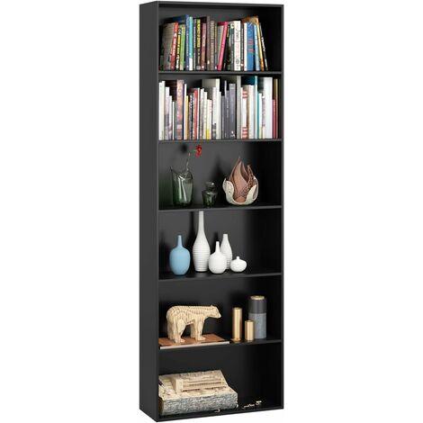 Homfa 6 Tier Bookcase Bookshelf Storage Shelving Unit Display Shelves Wooden Organiser 180cm (Black)