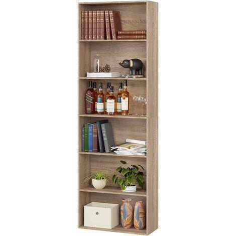 Homfa 6 Tier Bookcase Bookshelf Storage Shelving Unit Display Shelves Wooden Organiser 180cm (Oak)