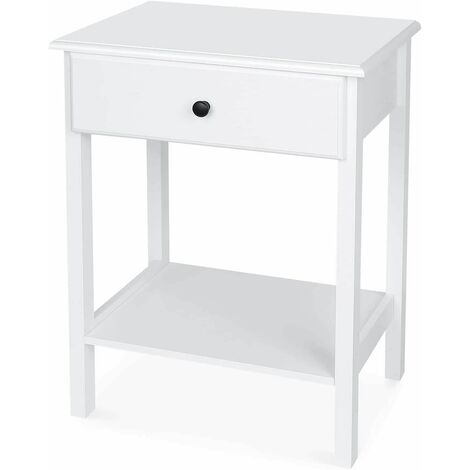 """main image of """"Homfa Bedside Table White Bedside Drawer with Shelf Wooden Side Table Bedroom Nightstand Cabinet Storage Unit 46x33x60cm"""""""