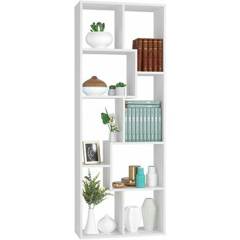 "main image of ""Homfa Bookcase White Bookshelf Book Shelving Unit Wood Display Rack Storage Organiser Living Room Office 60x24x160cm"""