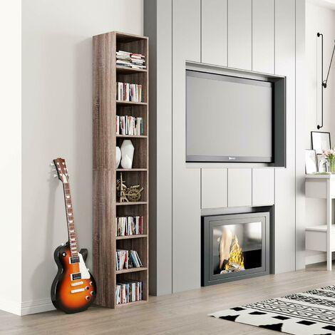 "main image of ""Homfa CD DVD Storage Tower Rack Media Storage Unit 180cm Bookshelf Display Bookcase Dark Oak"""