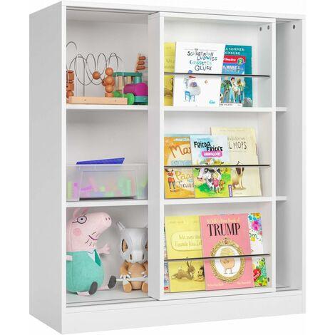 "main image of ""Homfa Children Bookcase Kids Storage Cabinet with Sliding Door 3 Tier Bookshelf Book Display Storage Unit White 90x37x105cm"""
