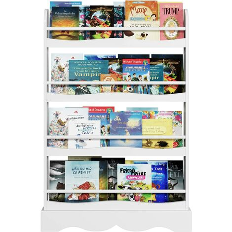 Homfa Children Bookshelf Kids Shelves Wooden Book Display Stand Organizer White 80x11.5x118cm