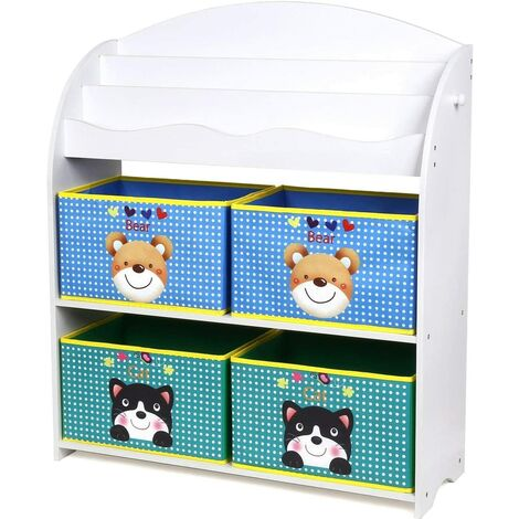 Homfa Children Toy Storage Unit with 3 Tier Bookshelves and 4 Fabric Boxes Bedroom Toy and Book Organizer