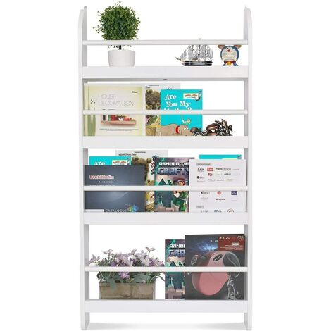 Homfa Children Wall Bookcase Kids Shelves Wooden Book Display Stand Organizer White