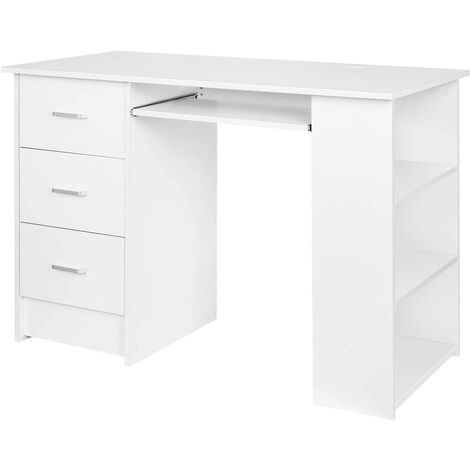 Homfa Computer Desk Home Office Workstation PC Laptop Table Study Desk with 3 Drawers and 3 Shelves Keyboard Shelf White 109x49x75cm