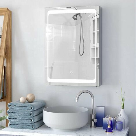 """main image of """"Homfa Illuminated LED Bathroom Mirror Cabinet Stainless Steel Wall Storage Cabinet Single Door with 2 Shelves Touch Sensor 50x13x72cm"""""""