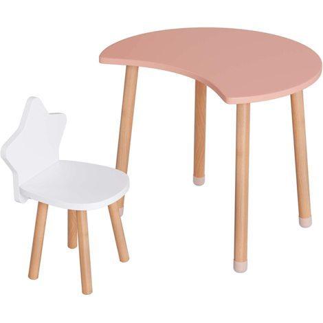 "main image of ""Homfa Kids Table and Chair Set Half Moon Activity Table Kids Play Study Table Playroom Classroom (Pink)"""