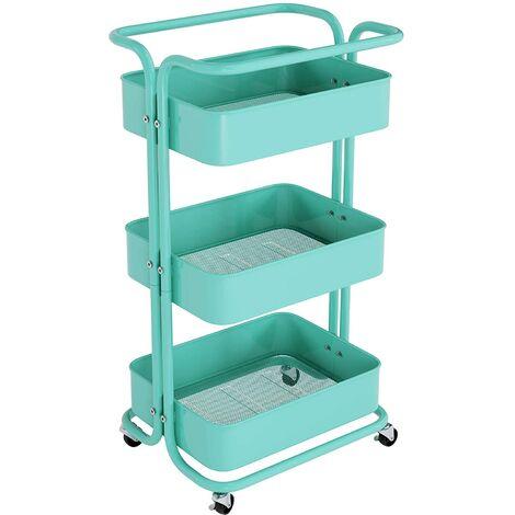 Homfa Küchenwagen Servierwagen mit Rollen Allzweckwagen für Küche Bad Büro 3 Etagen mit 3 Körbe Grün
