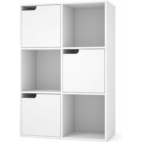 """main image of """"HOMFA Libreria Armadio Portaoggetti Scaffale in Legno Armadi con Ante per Soggiorno Camera da Letto Ufficio Bianco (6 Cubi 3 Ante)"""""""