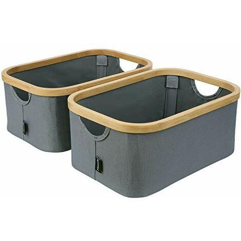 Homfa Lot de 2 Boa®tes de Rangement Pliable en Bambou+Polyester Bacs Caisses de Rangement Portable avec Poignees 38 x 26 x 16 cm