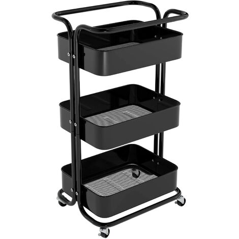 Homfa Storage Trolley Metal Rolling Cart Serving Trolley Multipurpose Organizer Shelf with Handles, Lockable Wheels for Office Bathroom Kitchen (black, 3 Tiers)