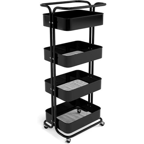 Homfa Storage Trolley Metal Rolling Cart Serving Trolley Multipurpose Organizer Shelf with Handles, Lockable Wheels for Office Bathroom Kitchen (black, 4 Tiers)
