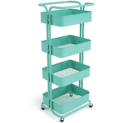 Homfa Storage Trolley Metal Rolling Cart Serving Trolley Multipurpose Organizer Shelf with Handles, Lockable Wheels for Office Bathroom Kitchen (green, 4 Tiers)
