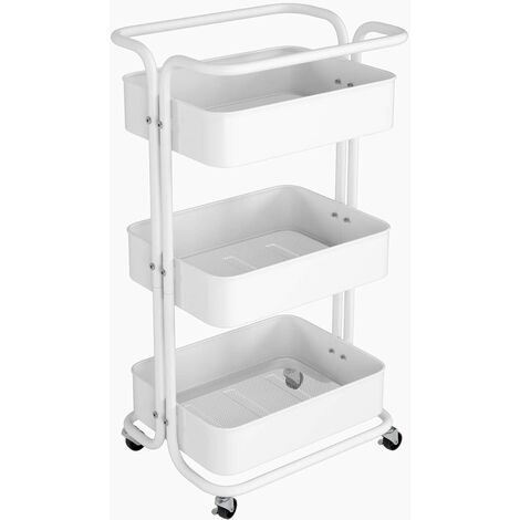 Homfa Storage Trolley Metal Rolling Cart Serving Trolley Multipurpose Organizer Shelf with Handles, Lockable Wheels for Office Bathroom Kitchen (White, 3 Tiers)