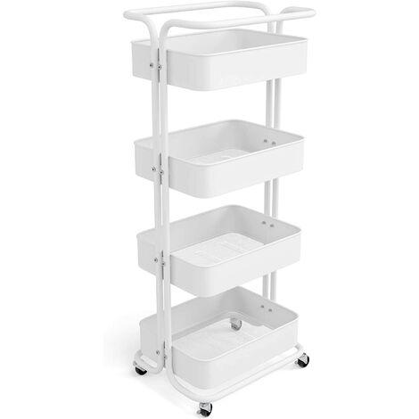 Homfa Storage Trolley Metal Rolling Cart Serving Trolley Multipurpose Organizer Shelf with Handles, Lockable Wheels for Office Bathroom Kitchen (White, 4 Tiers)