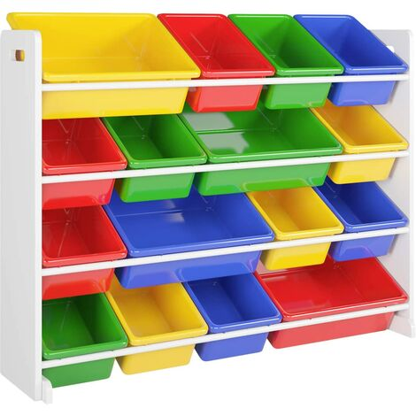 Homfa Toy Storage Unit Children Toy Box Organizer with 16 Removable Plastic Bins for Home and School