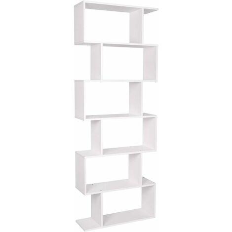 "main image of ""Homfa White Bookcase 6 Tier Bookshelf Shelving Unit Free Standing Bookcase for Living Room Wooden 190cm"""
