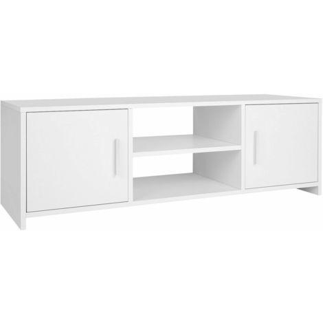 Homfa White TV Unit Stand Cabinet Sideboard Storage Cupboard Shelf Furniture 2 Door UK