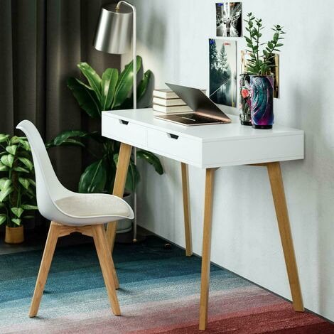 "main image of ""Homfa Wooden Dressing Table Makeup Desk Flip-up Mirror 2 Drawers Storage 100*50*77cm"""